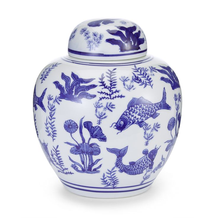 China Blue Porcelain Lidded Urn #LauraAshley
