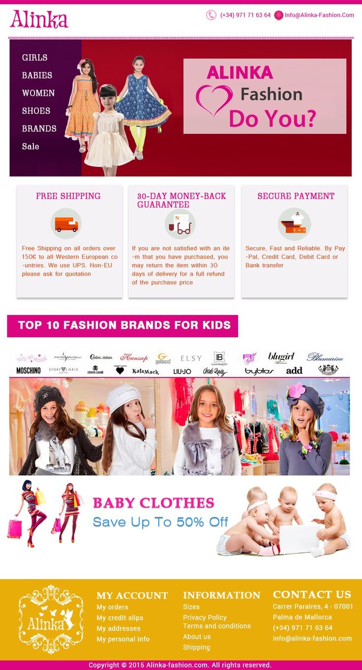 Alinka Fashion is a leading online destination for branded clothes for Baby Girls. To start browsing, Please Visit - http://www.alinka-fashion.com/