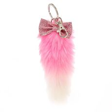 Pink and White Plush Fox Tail Keychain