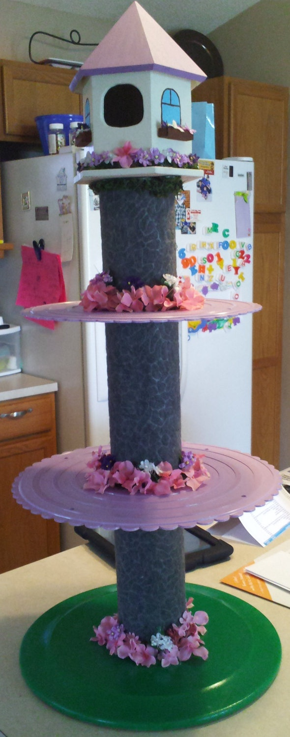 Tangled/Rapunzel Cupcake Tower by OnTheCheap on Etsy. $85.00, via Etsy.