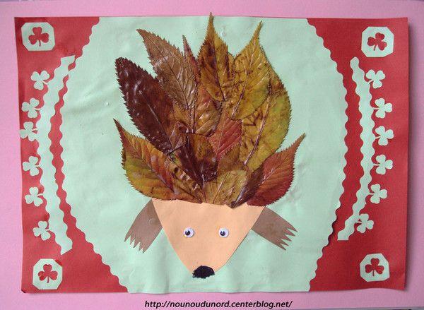 h risson r alis avec des feuilles d 39 automne automne les activit s manuelles pinterest. Black Bedroom Furniture Sets. Home Design Ideas