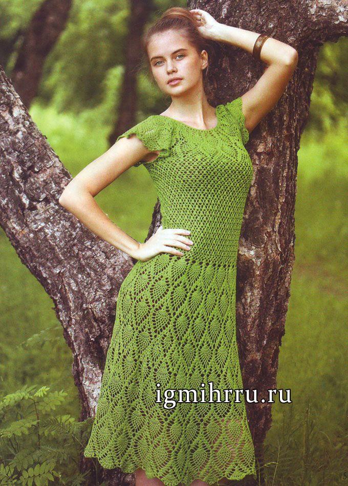 Летнее зеленое платье с узором из «ананасов», связанное сверху вниз. Вязание крючком
