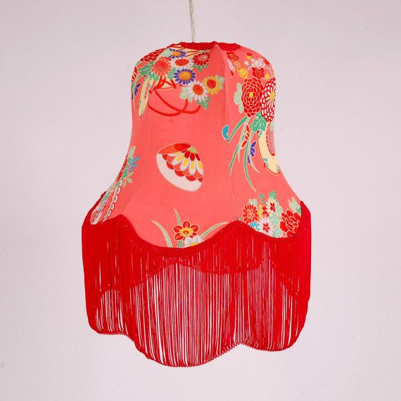 Medium Pendant Silk Lamp Shade with Red Fringe by KimonoLamps, $190.00