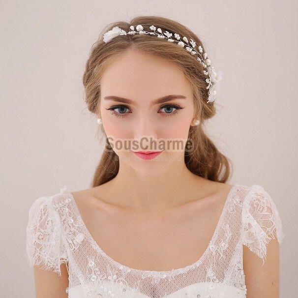 coiffure mariage bandeau cheveux aux perles simili blanche florale accessoire cheveux pour robe de marie - Accessoir Cheveux Mariage