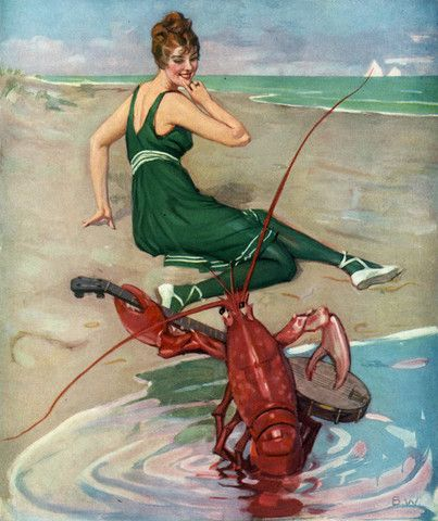 The Lobster Serenade- Brynolf Wennerberg. From the cover of Puck Magazine, 1914.