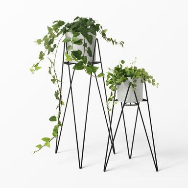 Ahlens SE- metal Flower pot holders / stands with concrete flower pots