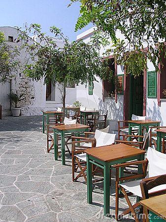 Traditional cafe in Folegandros, Greece