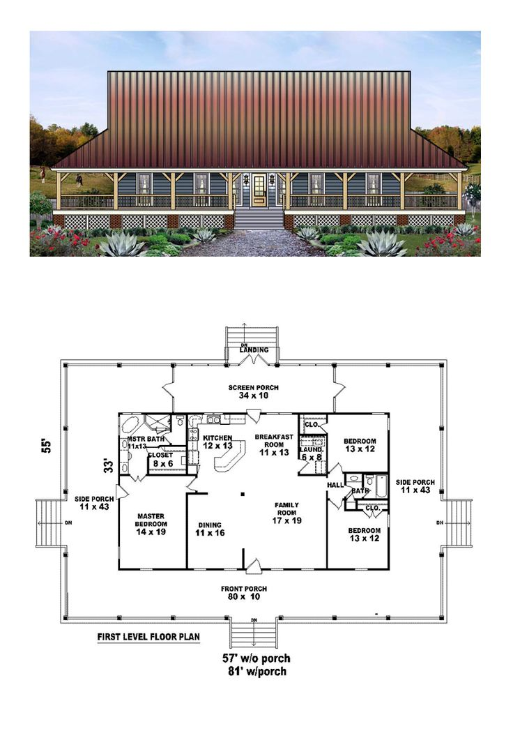Country House Plan 45764 | Total Living Area: 1871 sq. ft., 3 bedrooms and 2 bathrooms. #countryhome