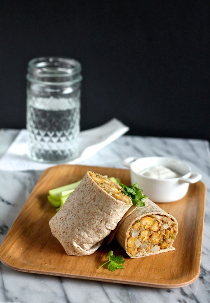 Spicy curried cauliflower chickpea wraps are filled to the bring with good-for-you ingredients and make great make-ahead meals.