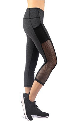 Sugar Pocket Womens High Waist 3/4 Capri Running Leggings Tights