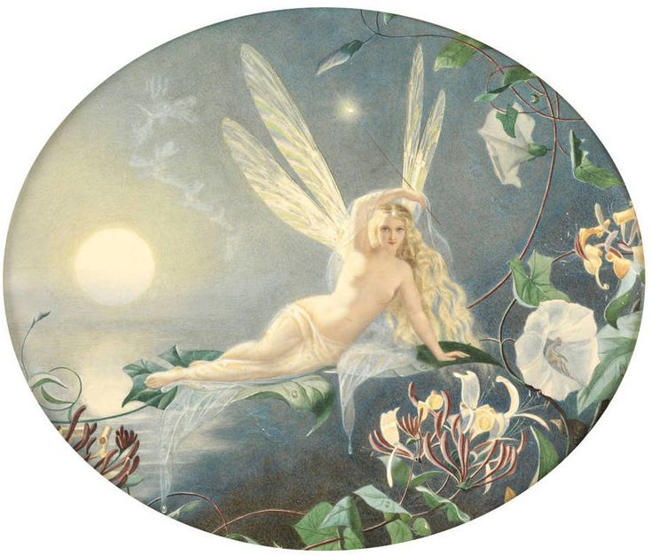 """""""Morning"""" by John Simmons (1823-1876)  Morning John Simmons (1823-1876). Oil. Signed and dated 1826. Watercolour with bodycolour, """"This erotically charged fairy in a pose plastique is an incarnation of Eosphorus, Venus at dawn. She is wreathed in a gauze of transparent fabric, like the mists that veil the world in the morning, and bears a wand of starlight.  She is resting weightless on a dew-dropped Morning Glory leaf, considered hallucinogenic."""" — Rupert Maas"""