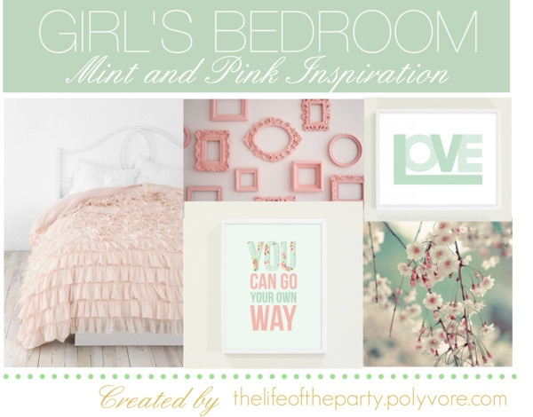 """""""Girl's Bedroom Pink and Mint"""" by thelifeoftheparty on Polyvore"""