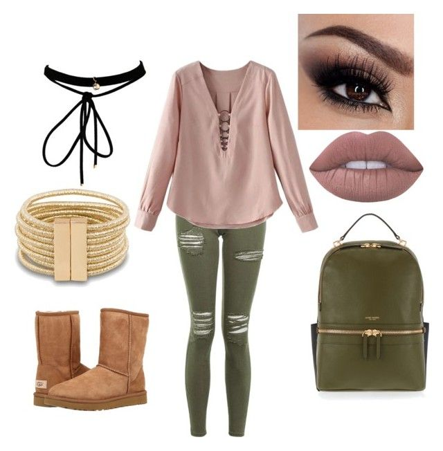 """""""Pink and Olive Green"""" by jessiecary ❤ liked on Polyvore featuring Topshop, Henri Bendel, Lime Crime, UGG Australia and WithChic"""