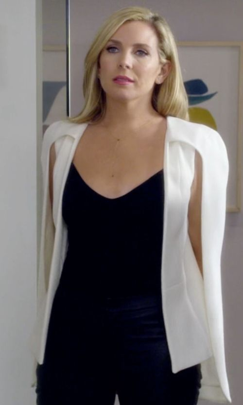 June Diane Raphael with Alexis Lenore Crepe Shawl-Collar Cape Blazer in Grace and Frankie