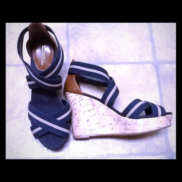 Merona Navy & Beige Wedges Cute little Merona navy and beige wedge with cork detail.  Size 7.  Only worn once. Merona Shoes Wedges