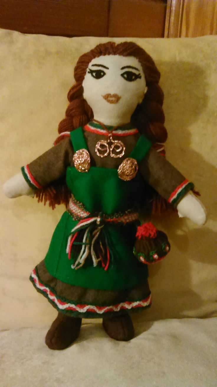 Viking girl :) A primitive doll  of linen and wool . Handmade by Alina Wodzińska