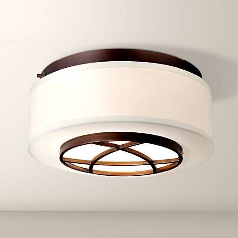 City club 15 wide brushed bronze flushmount ceiling light