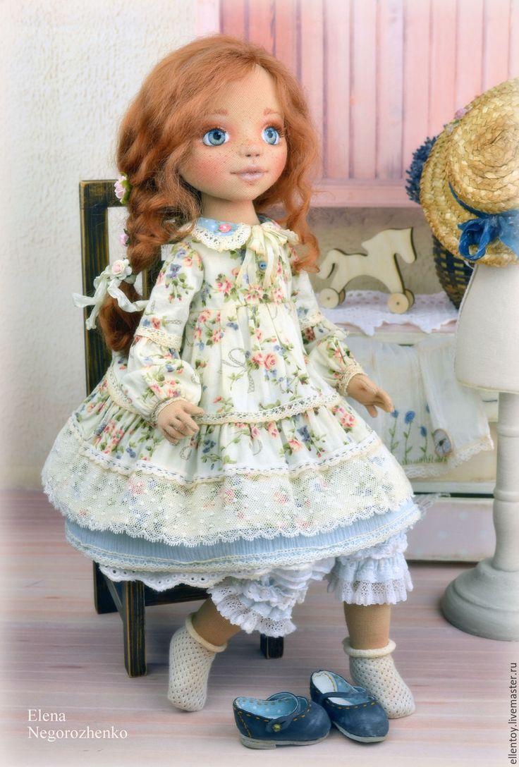 Купить Полинка, текстильная кукла - бежевый, салатовый, голубой, рыжий, кукла, кукла интерьерная