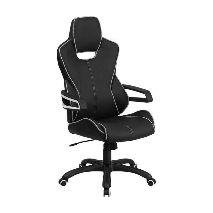 Offex High Back Black Vinyl Executive Swivel Office Chair with White Trim