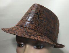 Trilby Hat - Chocolate Brown & Black Zig Zag 58