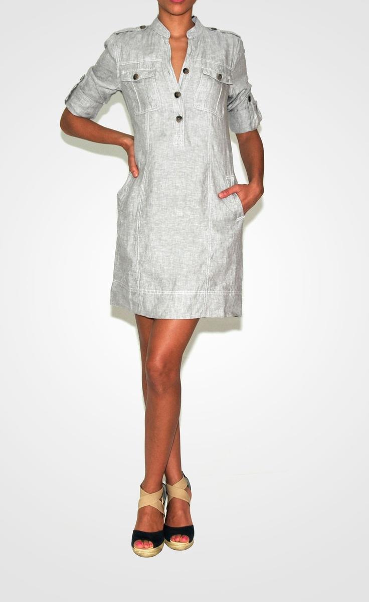 Vestido Safari Lino gris                                                                                                                                                      Más