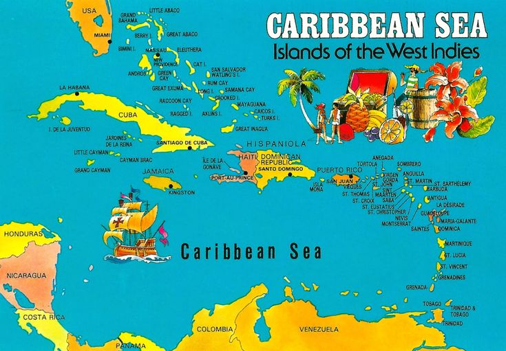 caribbean sea islands of the west indies this map postcard ...
