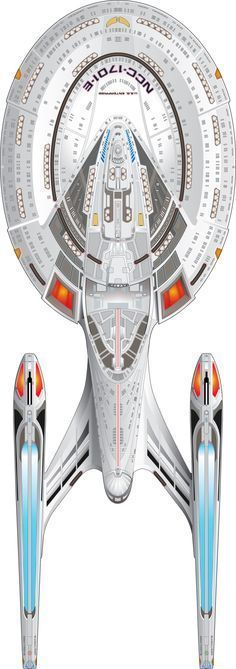 "U.S.S. Enterprise NCC-1701-E - ""Star Trek First Contact"", ""Star Trek Insurrection"" & ""Star Trek Nemesis"" Top View"
