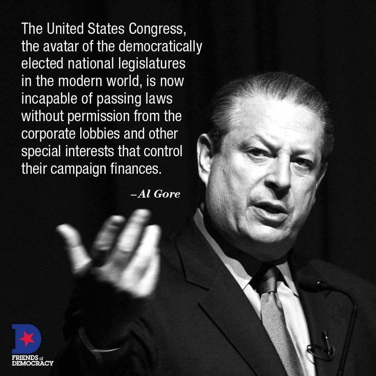 The United States Congress, the avatar of the democratically elected national legislatures in the modern world, is now incapable of passing laws without permission from the corporate lobbies and other special interests that control their campaign finances. --Al Gore