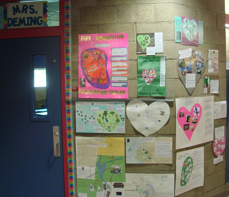 """This is what good """"Hallway Publishing"""" looks like, folks.  To the left of Ms. Deming's door, the hearts continue.  Our students fell ownership when they walk into a classroom whose doorway features work about things they care about that we've laminated and celebrated by hanging up.  See the other side of Ms Deming's door: http://www.pinterest.com/pin/450852612670164941/"""