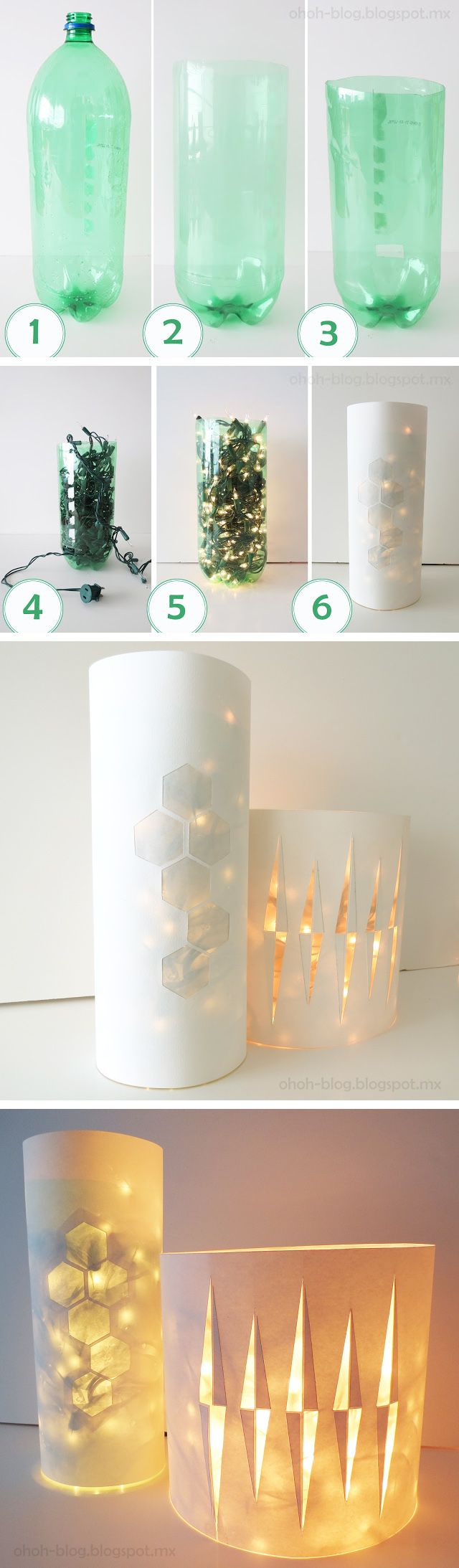 Hoy presentamos un fantástico ejemplo de lámpara DIY hecha a partir de una botella de plástico, una lámina de papel blanco o cartulina y las típicas luces navideñas (de tipo LED). El resultado es francamente sorprendente. Tutorial de Ohoh Blog…