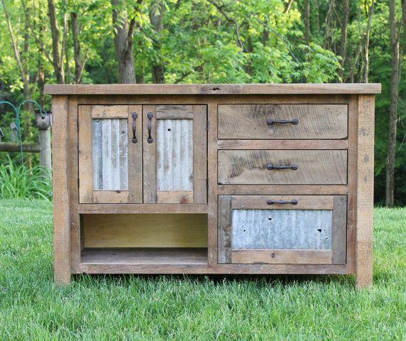 Rustic vanity 48 reclaimed barn wood vanity w barn for Old barn tin ideas