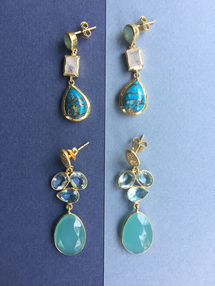 Silver goldplated earrings with turquoise & aquamarine stones