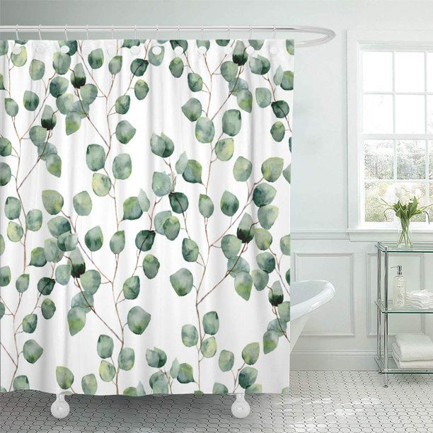 Cynlon Watercolor Green Floral Seamless Pattern Eucalyptus Round
