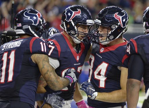Colts vs. Texans:   October 17, 2016   -  26-23, Texans  -     Houston Texans tight end C.J. Fiedorowicz,  center, celebrates his touchdown with  teammates during the second half of an NFL  football game against the Indianapolis Colts,  Sunday, Oct. 16, 2016, in Houston. (AP  Photo/George Bridges)