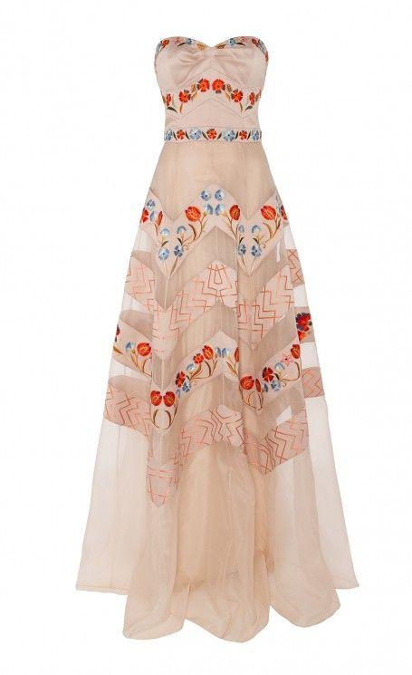 Temperley London   Multicolor Long Strapless Valencia Dress