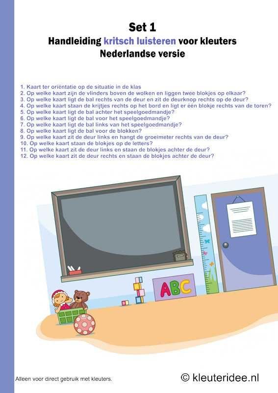 Kritsch luisteren voor kleuters, set 1,  Nederlandse handleiding, kleuteridee.nl , free printable