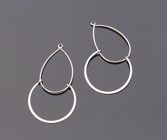 2 Chandelier Earring Findings Shiny Silver Drop Pendants Eardrop Connectors