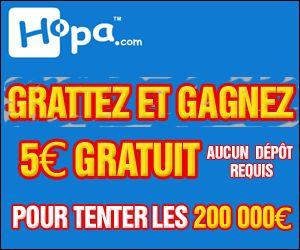 Hopa.com   5 € offerts et 100% de bonus   Jeux de grattage & Cartes à gratter.