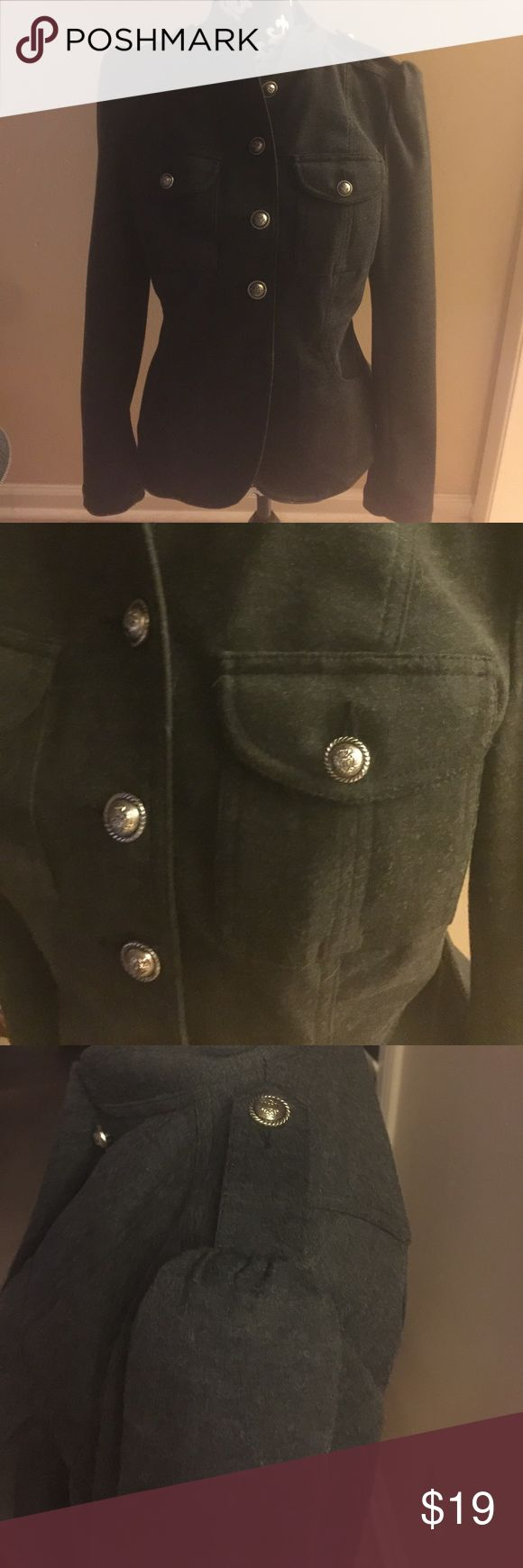 Women's Military Style Jacket size small Military style jacket.  Beautiful gold buttons.  Front pockets.  Decorative shoulder buttons . Buttons at wrist. Fitted with darts on back.  Pretty charcoal gray. INC International Concepts Jackets & Coats