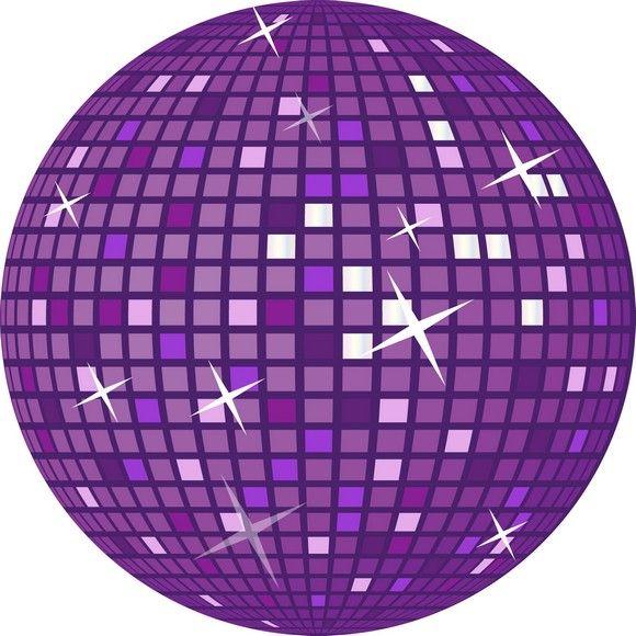 Disco Ball | Purple Retro Disco Ball Vector Art