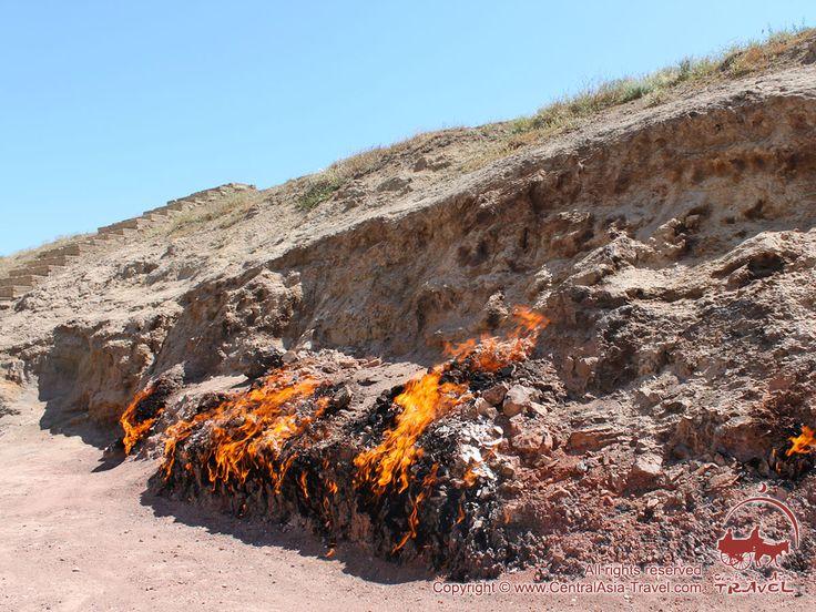 Yanar Dag mountain. The Burning Mountain in #Azerbaijan  #countryoffires #greatsilkroad #YanarDag