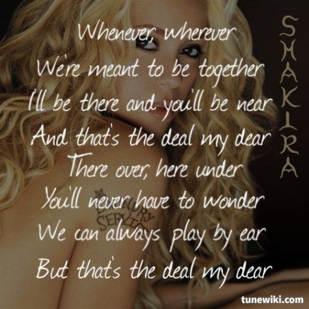 Shakira- Whenever, Wherever  #Shakira #song  #lyrics