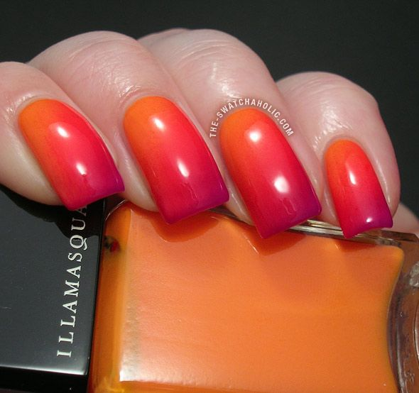 Gradient Nails Gradient Manicure Illamasqua Insanity Alarm Stance swatch swatches sponging nail art nail varnishes bright summer nails diagonal