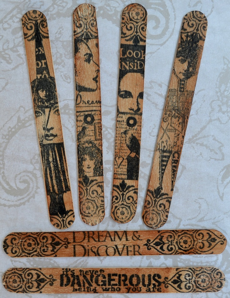 STEAMPUNK WOOD ACCENTS bookmarks original altered art assemblage face collage mixed media. $14.99, via Etsy.
