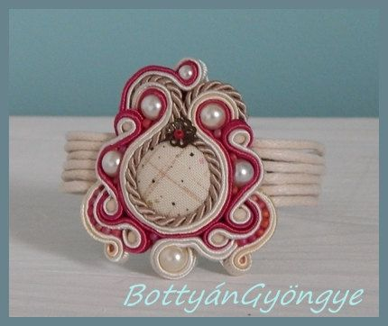 Raspberry asymmetric soutache bracelet  simple by BottyanGyongye