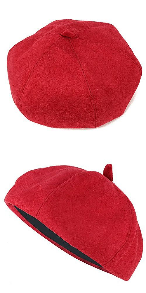 3237985d24b Stylish Solid Color Faux Suede French Style Beret Hat - RED