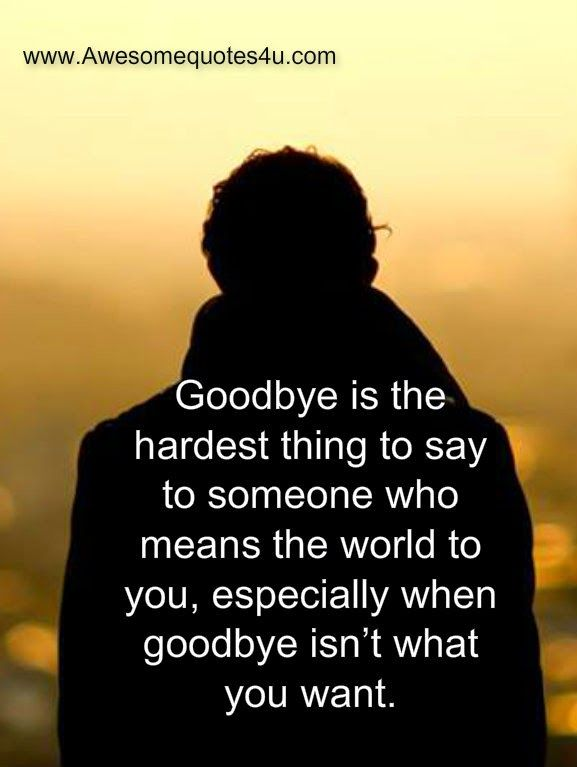 Awesome Quotes: Goodbye is the hardest thing to say to someone who means the world to you