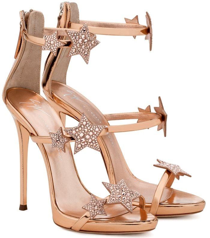 Giuseppe Zanotti Harmony Star Rose Gold Sandal With Three Straps And Stars In 2020 Heels Giuseppe Zanotti Heels Fashion Heels