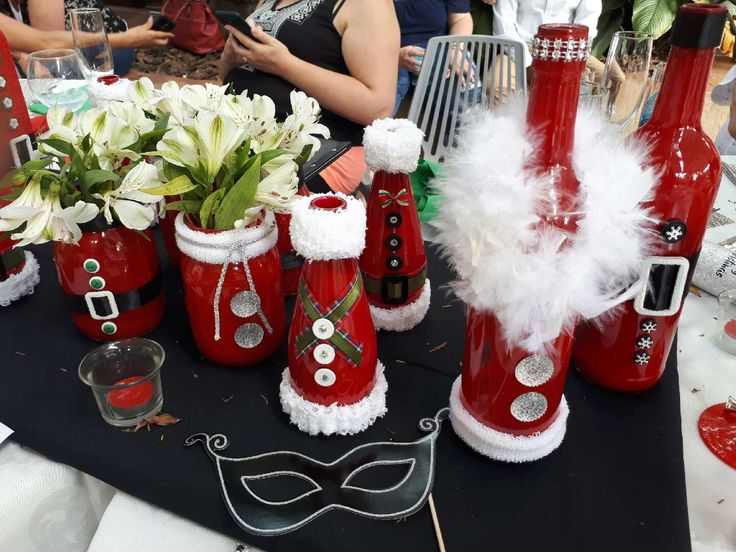 Decorated glass bottles for Christmas