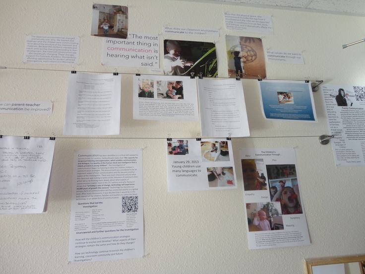 This is an example of how teachers might display the raw compilation of notes, photos, resources, etc. that they collect as they engage in a project with children. This style of display speaks to adults as the audience.